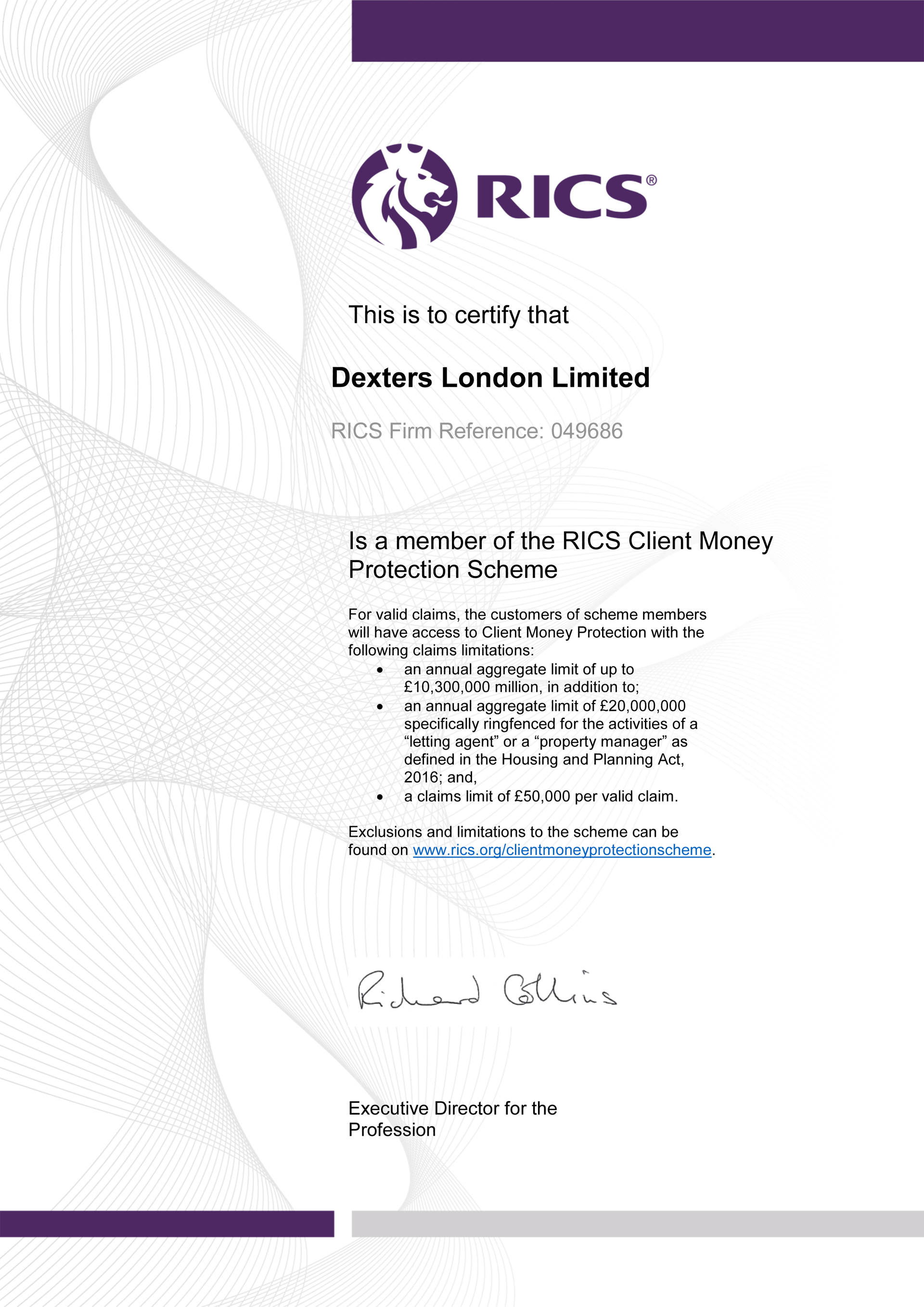 Dexters London Limited RICS Client Money Protection Certificate